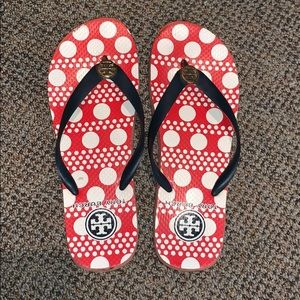 Tory Burch flip flops red. Size 9